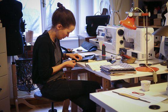 The work space of Czech designer Eliska Judova/Elijediova in her Prague's apartment.
