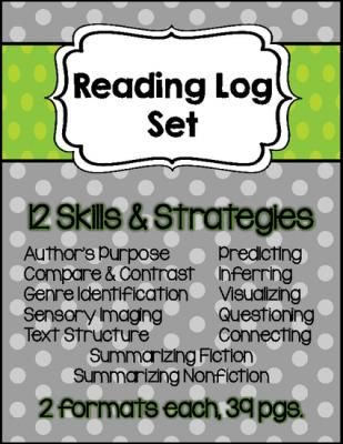 Reading Log Set of 12 Skills and Strategies: Summarize, Infer, Predict, and more from Keep Calm and Teach on TeachersNotebook.com -  (39 pages)  - This is a set of reading logs that was created based on different reading skills and strategies. 39 total pages!