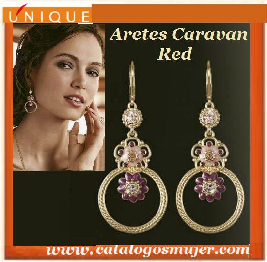 Aretes CARAVAN RED Baño de Oro de 24k  y delicadas cuencas de colección  *60%*Precio Oferta S/.69.90