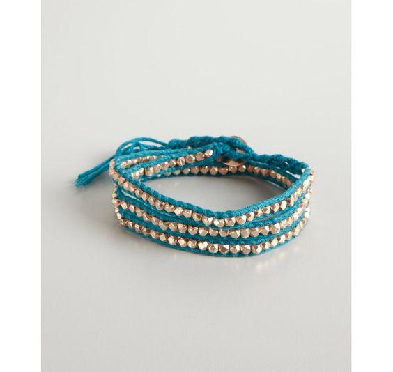 pacific blue leather corded metal stone wrap bracelet