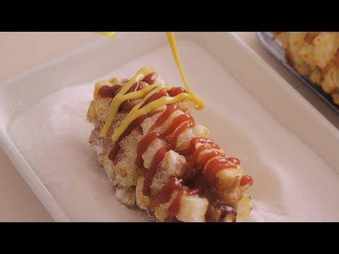 4k 내가 좋아하는 만득이 감자핫도그 Korean Street Food Potato Corn Dog Honeykki 꿀키 Youtube Receitas Culinaria