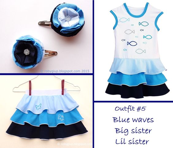 """""""Blue waves"""" sisters summer outfit: ombre blue hooded dress, flounces skirt, hair clips couple with fabric flowers - Lil Sister Big Sister clothing set - by RobyGiup handmade"""