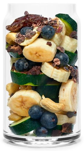 Real Smoothie Cacao Kapow Recipe: Zucchini, Banana, Strawberries, Cashews, Cacao nibs, Blueberries (freeze dried when not in season) Dates