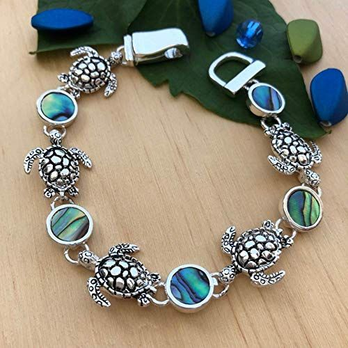 Silvertone and Abalone Sea Turtle Bangle PammyJ Turtle Bracelet