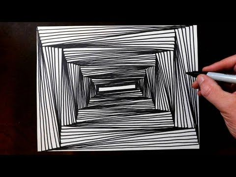 How to Draw 1 Point Perspective Line Illusions - YouTube ...