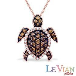 Rose Gold Le Vian Aloha Collection Turtle Pendant With
