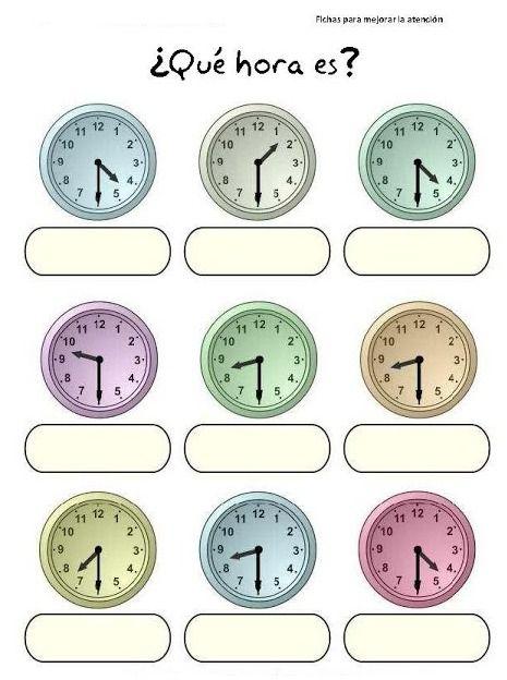 Worksheets Spanish Time Worksheet time in spanish printout worksheets for children hora es ejercicio 3