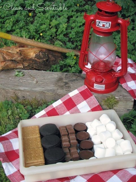 Put together a smores box before you leave to go camping! No wrappers to deal with and less trash to pack out!: