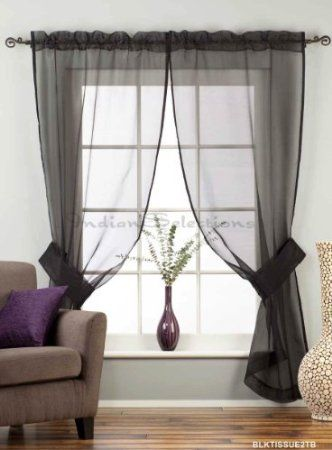 Amazon.com: Black Rod Pocket Sheer Tissue Curtain / Drape / Panel ...
