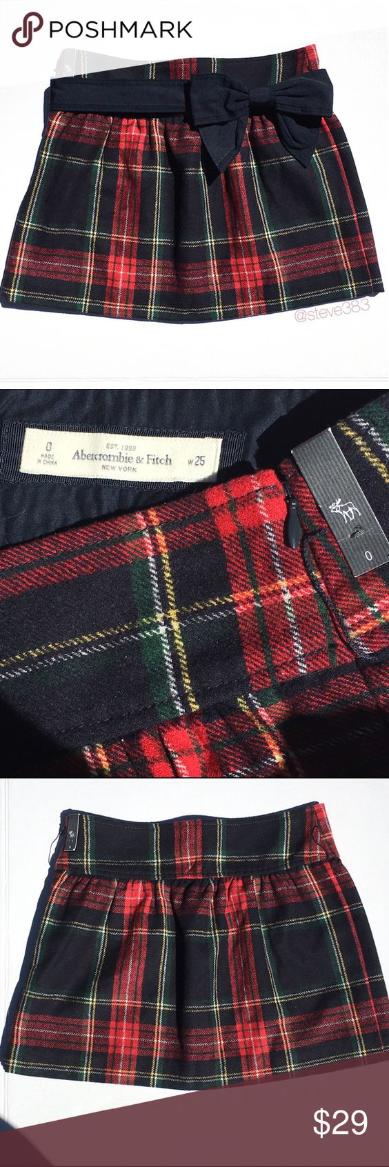 nwt A&F Abercrombie & Fitch wool plaid skirt This skirt is perfect for fall and the holidays.... And great for schoolgirl Halloween costume! 🎃  The wool blend classic plaid skirt features stripes of red, navy, Kelly green, as well as a little yellow and ivory. Hidden side zipper, thread belt loops (easily removed if desired), embroidered moose logo.   Perfectly cosy with ivory sweater and leg warmers or uggs, dressy paired with Mary Janes and a blouse or casual cool with converse and a T…