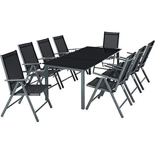 Tectake Aluminium 81 Salon De Jardin Ensemble Sieges Meubles Chaise Table En Verre Diverses Couleurs Meubles De Jardin Design Salon De Jardin Table En Verre