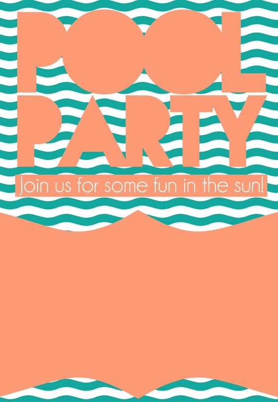 Summer Pool Party Invitation Free Printable DIY – Free Party Invitations Templates