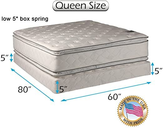 Dream Solutions Brand Soft Pillowtop Queen Mattress And Low Height Box Spring Set With Bed Frame Included Two Sided In 2020 Pillow Top Mattress Spring Set Box Spring