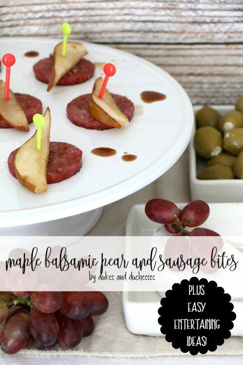 maple and balsamic pear and sausage bites #ad