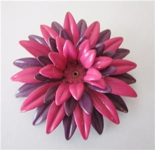 Vtg LARGE Pink Purple ENAMEL FLOWER Power BROOCH Pin RETRO MOD HIPPIE Jewelry
