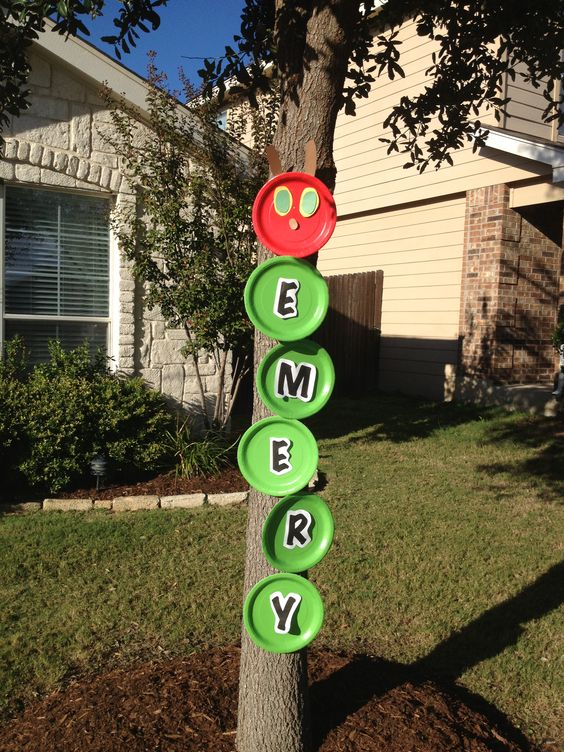 Very Hungry Caterpillar party tree marker! Adorable: