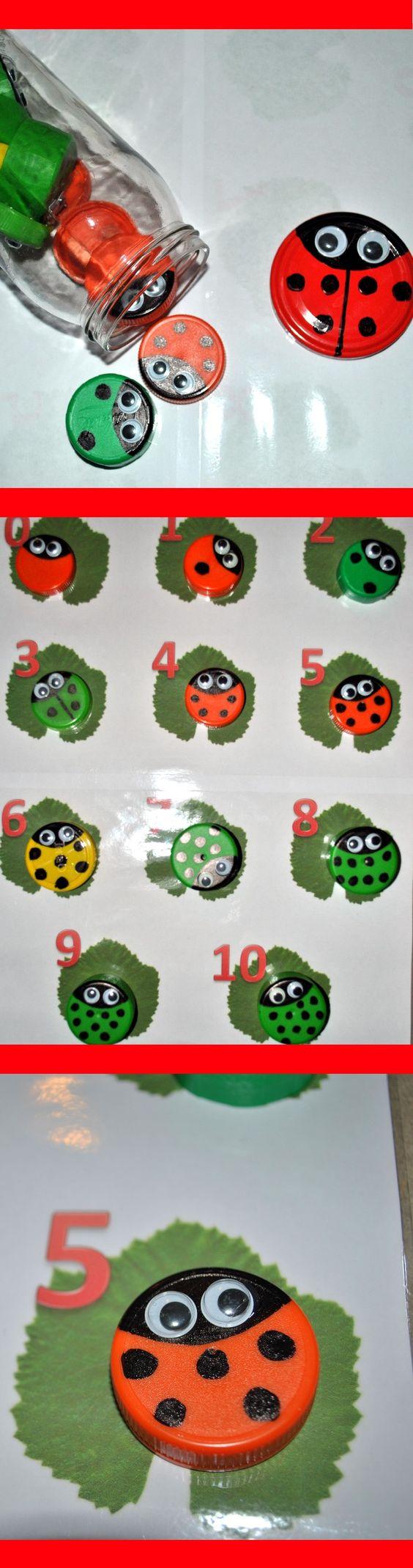 Asociar número a cantidad, previamente hemos decorado tapones como sí fueran mariquitas. A contar lunares y ponerlas en la hoja q corresponda: