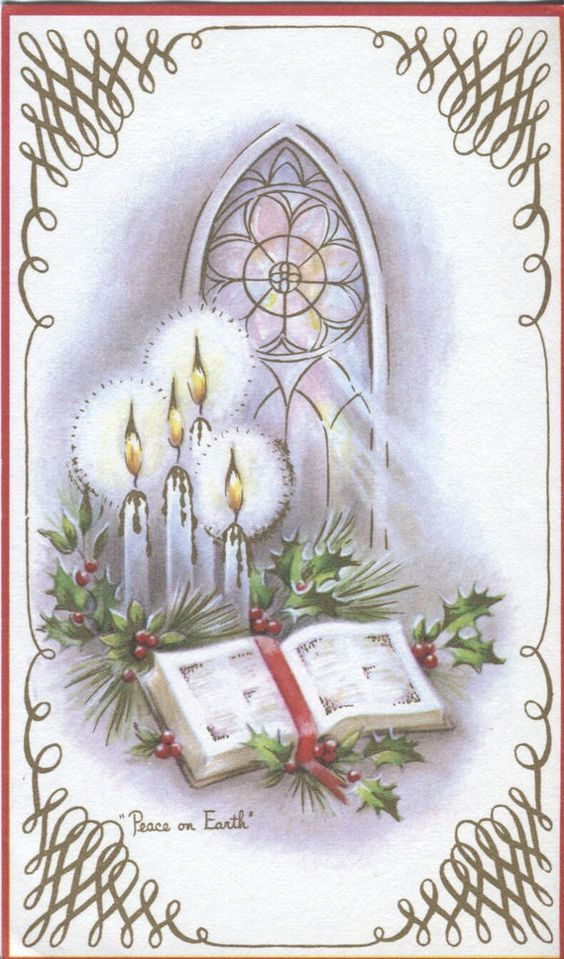 Vintage Christmas Card : Bible with Candles: