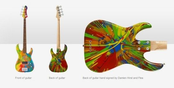 Multi-Coloured Deluxe Spin Bass Guitars by Damien Hirst and Flea ...
