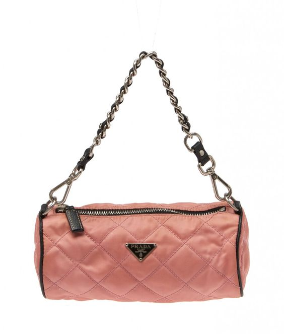 choice handbags wholesale - Prada Pink Stitched Nylon \u0026amp; Leather Chain Handbag | Leather Chain ...