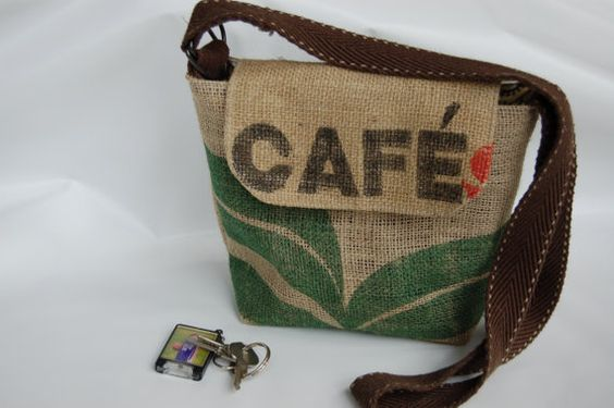 Recycled Burlap Coffee bag purse. Across body by suitablebags