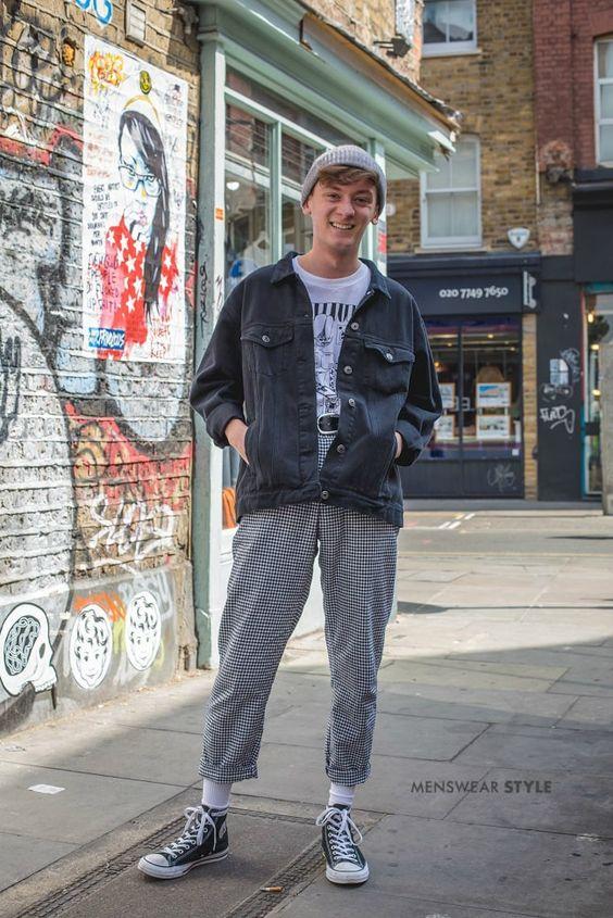 海外メンズブラックデニムジャケットコーデThis is Jay on the streets of London wearing Checkerboard Trousers, Black Converse, Graphic T-Shirt, and Black Washed Denim Jacket.