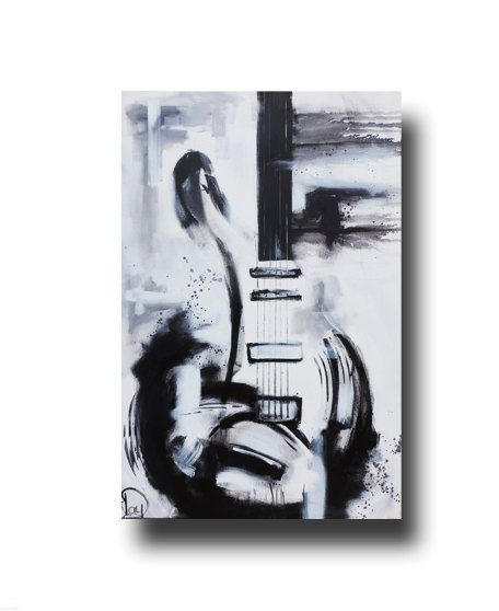 Abstract Painting Guitar Black U0026amp White Original Large On Canvas Urban Art 36x24 Heather Day Paintings