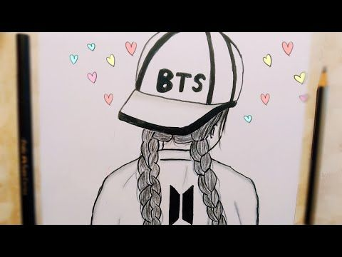 How To Draw A Girl With Bts Cap For Beginners رسم بنات رسم سهل لبنت بقبعة Bts رسومات سهلة Youtube Bts Drawings Drawings Art