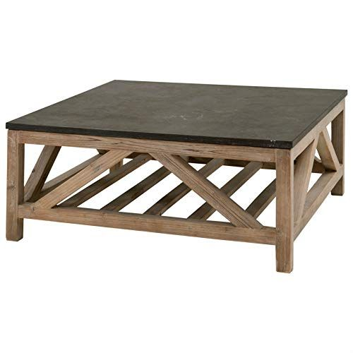 Amazon Com Maklaine Stone Square Coffee Table In Smoke Gray Pine