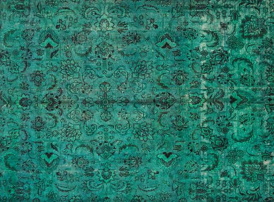 7.8 X 6.6 FT OVERDYED Vintage Rug - Green Color Authentic Handmade Carpet. Free world wide shipping ( 4552)
