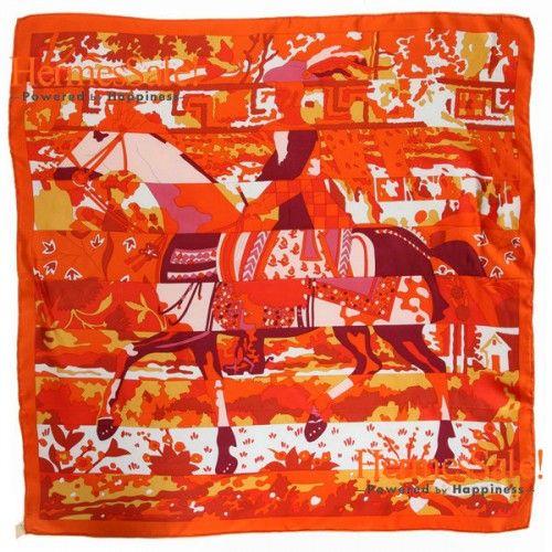 Hermes Les Dix Cavaliers Orange Silk Twill Scarf 90cm Thickness: 19 m/m