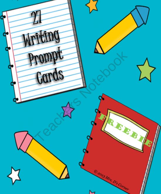 27 Writing Prompt Cards from Mrs. D's Corner on TeachersNotebook.com (5 pages)  - FREEBIE * 27 writing prompt cards. Print on colored card stock, cut out, and laminate for longer use!