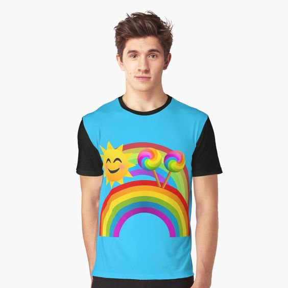 Sunshine, Lollipops and Rainbows Happy Day Joypixels Emoji Graphic T-Shirt