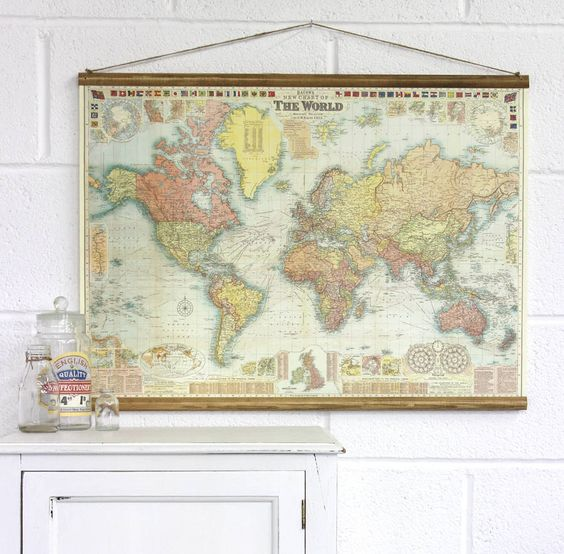bacons new chart of the world map wall hanging by vintage
