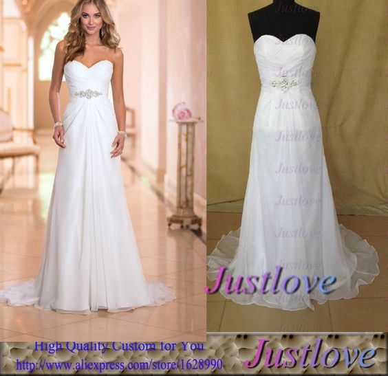 Find More Wedding Dresses Information about Romantic robe de mariage mariee 2015 White Real Photo Beach Wedding Dresses Gowns Beaded Sash Chiffon vestidos de Novia,High Quality chiffon floral dress,China chiffon ruffle Suppliers, Cheap chiffon sleeveless dress from Justlove international wedding dress Ltd. on Aliexpress.com