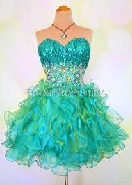 green blue formal short fluffy strapless dress - Formal Dresses ...