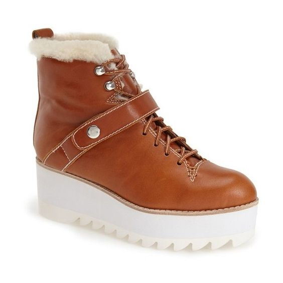 """Jeffrey Campbell 'Slander' Platform Boot, 2 1/2"""" heel (750 BRL) ❤ liked on Polyvore featuring shoes, boots, ankle boots, lace-up platform boots, hiking boots, shearling lined leather boots, lace up platform bootie and shearling lined boots"""