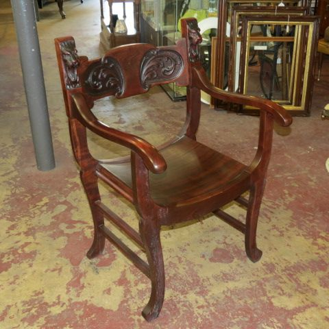 lion head rocking chair with arms sold vintage antique mahogany art nouveau rocker game of thrones