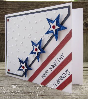 handmade card from Luv 2 Scrap n' Make Cards: Red, White & Blue Blog Hop ... patriotic theme .. luv the diagonal stripes with the sentiment running  on the white ones ... cute layered glitter stars with little rhinestones in the center ... embossing folder texture of little stars ... perfect for 4th of July ...