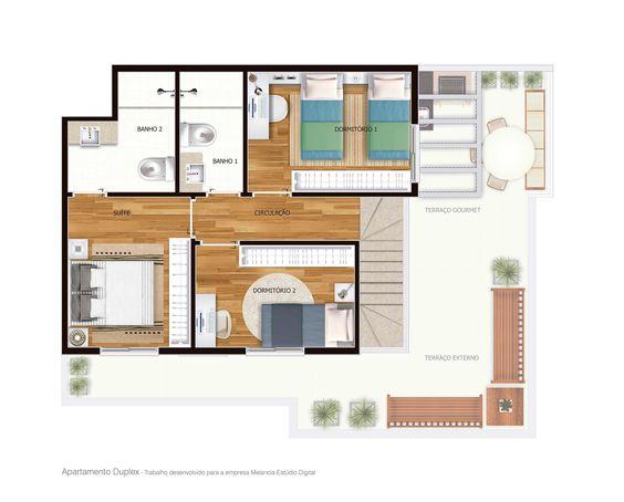 Planta Baixa Duplex pavimento superior -   Trabalho desenvolvido para a empresa Melancia Estúdio Digital.