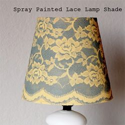 Lace + Spray Paint = lace print lamp shade! I think I might try to do this for the retro lamps I just bought!: