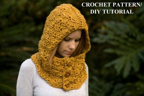 Free Knitting Pattern Hooded Neck Warmer : Hooded Cowl, Wood Button Crochet Hoodie, Scoodie, Mustard ...