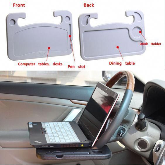 You knowwww, just in case you want a FREAKIN LAPTOP shooting at your face with the force of a 12 gauge shotgun when you rear end the person in front of you because you're looking at Pinterest while driving. Cup Holder... Dining tray... ONLY FROM CHINA! omfg...