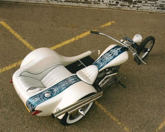 Ed Roth style trike, bike and side car,
