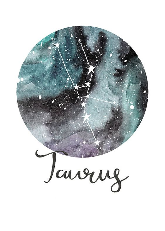 TITLE: Taurus - Zodiac Constellations SIZE: A5 - Unframed art print of my original painting. Printed on beautiful Bockingford 190g paper which has been specially designed for printing artwork. All prints have a small white border. Each print is signed and dated by the artist and are carefully packed in a clear sleeve and a hard backed envelope to ensure it arrives in pristine condition. Artwork © Sarah Frances. http://www.sarahfrances.co.uk https://twitter.com/sarah...