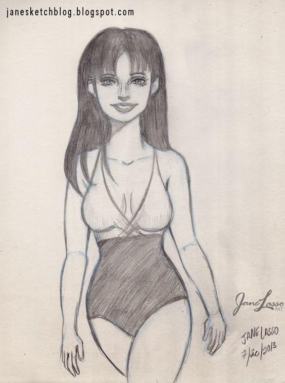 Dibujo a lápiz de una chica hecho por Jane Lasso