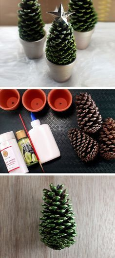 Paint pine cones and accent with glitter for this handmade Christmas decoration in a pot!