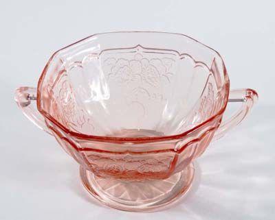 Pink Mayfair footed sugar bowl.