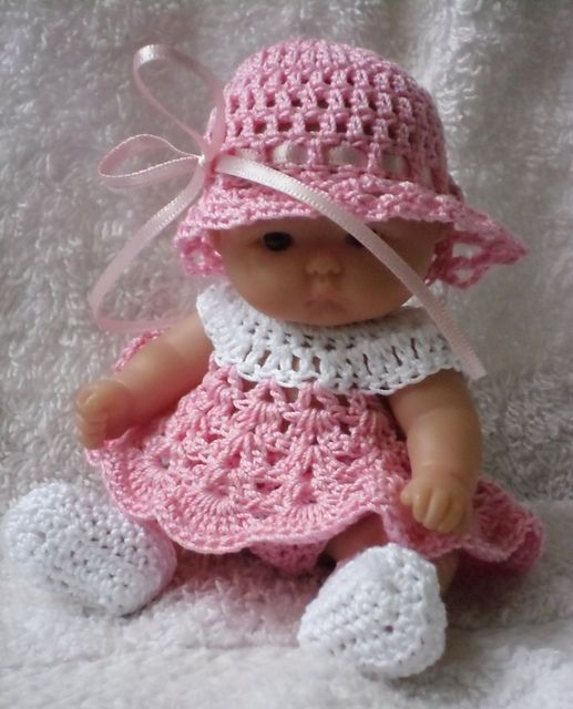 Crochet Patterns For Doll Clothes : Short dress set for 5 inch Berenguer baby doll pattern by ...