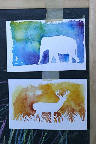 DIY watercolor silhouette. Stickers, paint, dry, and remove stickers..